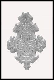 Plaquette Ancienne en Cristal Eglise Motif Croix